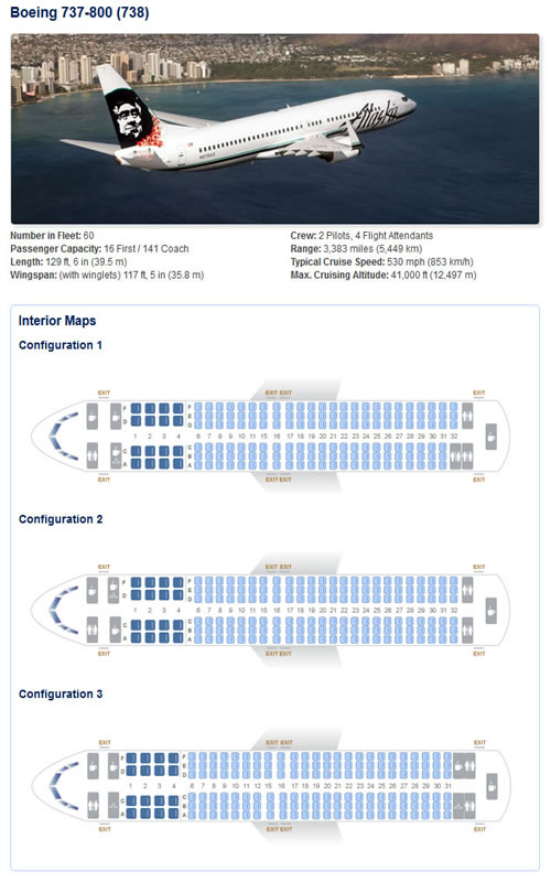 Alaska Airlines Boeing 737 Airline Seating Chart