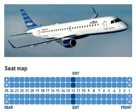 JetBlue Airways Embraer 190 Airline Seating Chart
