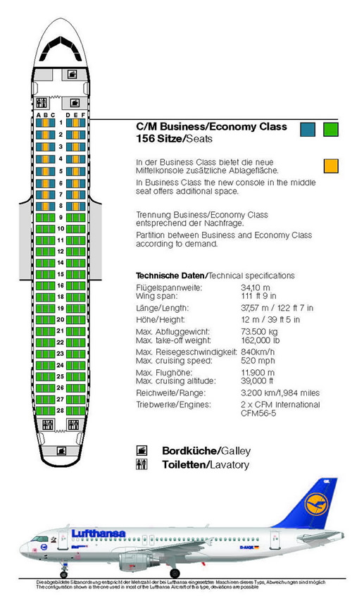 Lufthansa Airlines Airbus A320 Airline Seating Chart